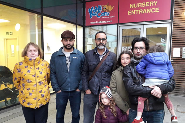 Councillor Linda Wade, Muneer Taskar, Zeshan Ghory, Theodore Morith and his children. Photo by Owen Sheppard.