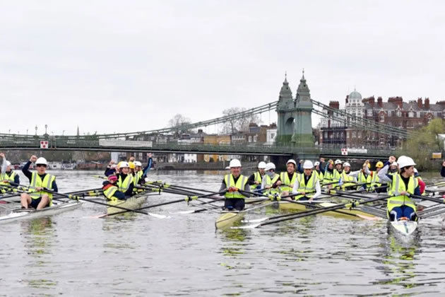 Local rowing clubs participate in protest