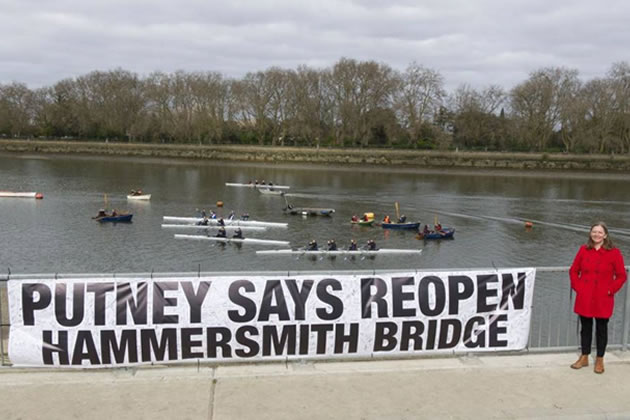 Putney MP Fleur Anderson with banner in support of reopening Hammersmith Bridge