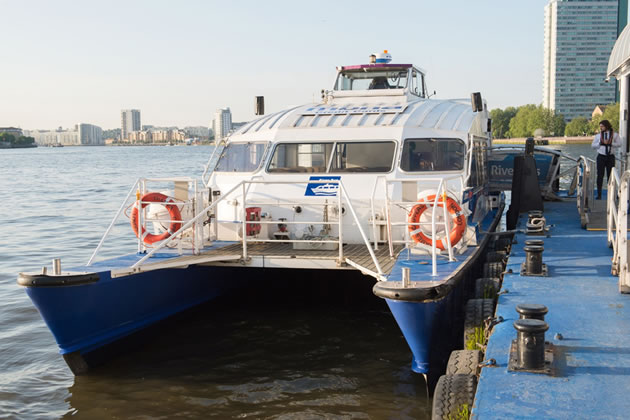 One of the boats currently operated on the river by Thames Clippers