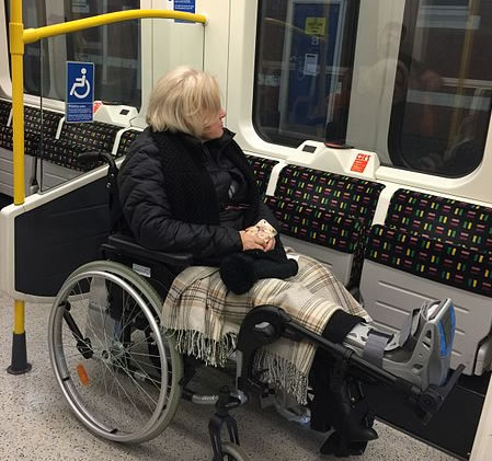 disabled woman on tube